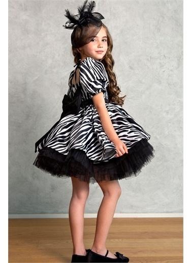 Riccotarz Kız Çocuk Zebra Desenli Fiyonklu Elbise Siyah